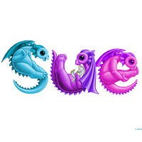 "Print Dragon Babies ""Sue"" in custom multi-colors  by Sue Ellen Brown"