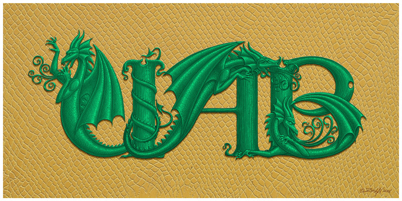 Print UAB Dragons, in green on gold dragon skin by Sue Ellen Brown