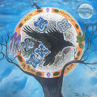 Acrylic painting The Sacred Raven by Debra Disharoon