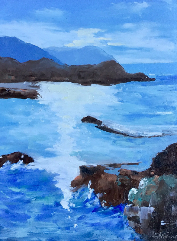 "Oil painting ""Rocky Coastline"" by Anne French"