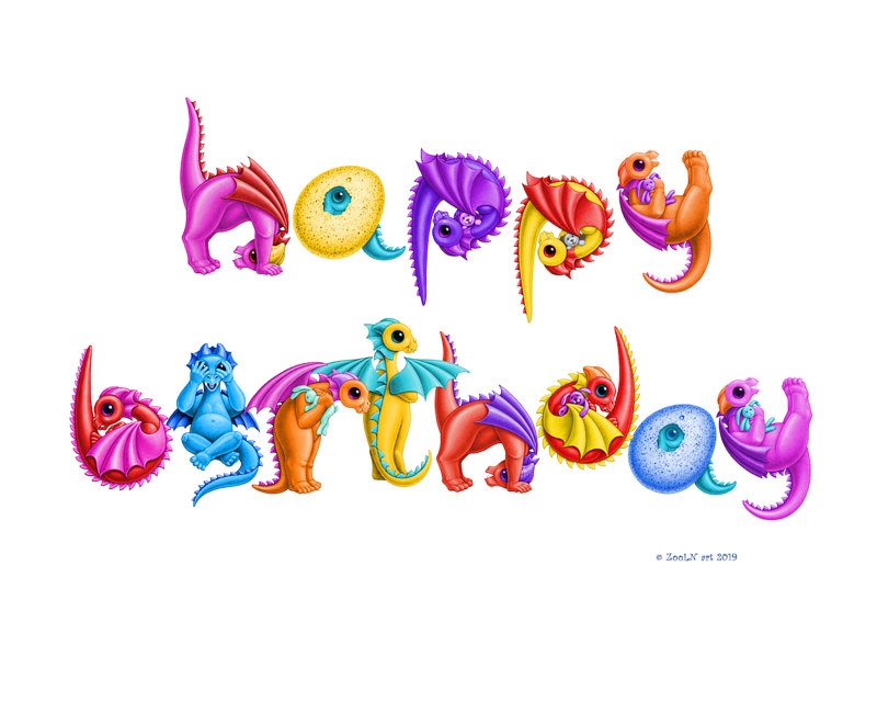 Print Happy Birthday in Dragon Babies by Sue Ellen Brown