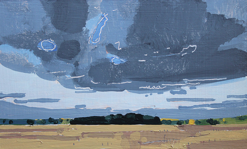 Acrylic painting Bean Field, October 3 by Harry Stooshinoff