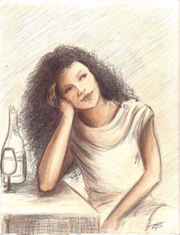Drawing Girl at the Cafe by Trish Becker