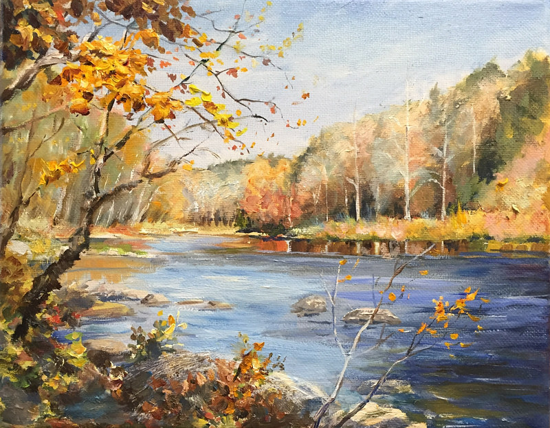 Oil painting The Housatonic Study by Betty Ann  Medeiros