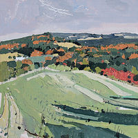 Acrylic painting Back Field, October 11 by Harry Stooshinoff