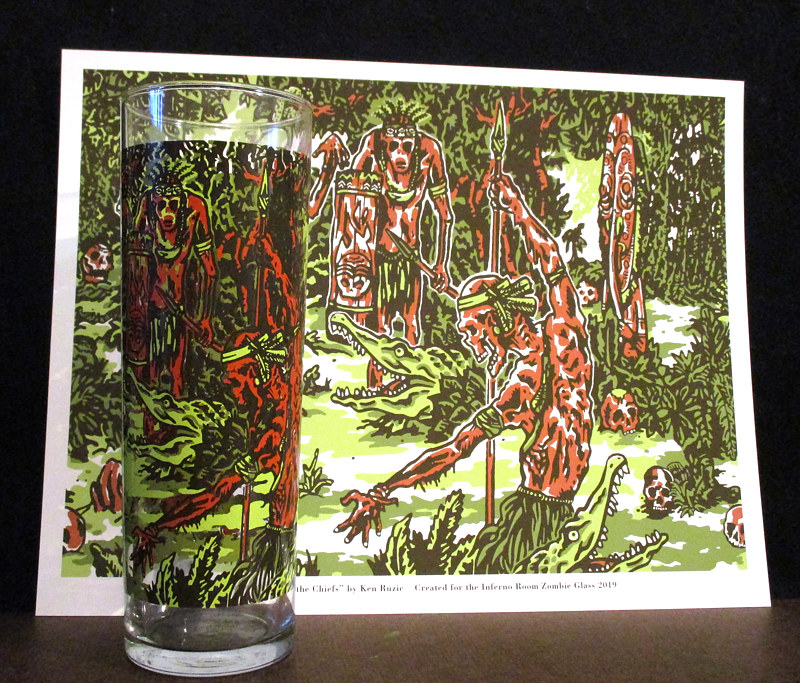 Print INFERNO ROOM 1 YEAR ANNIVERSARY ZOMBIE GLASS by Kenneth M Ruzic
