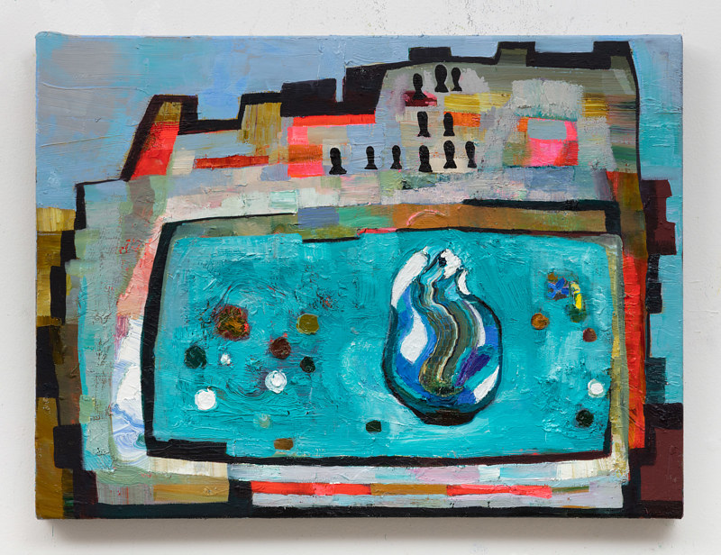 Oil painting Wishing Fountain with Infinite Keys by Julie Gladstone