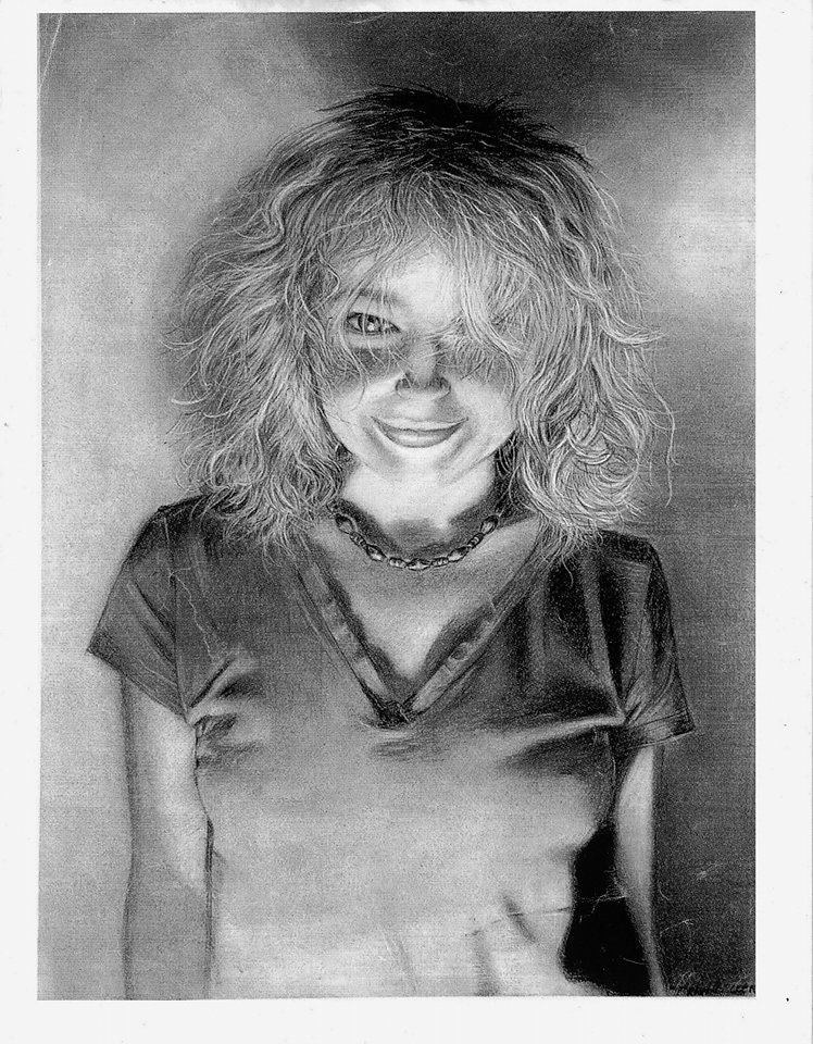 self portrait in charcoal  by Trish Becker
