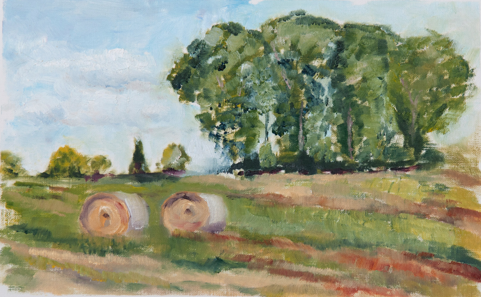 Oil painting LaFratta Bales by Kathleen Gross