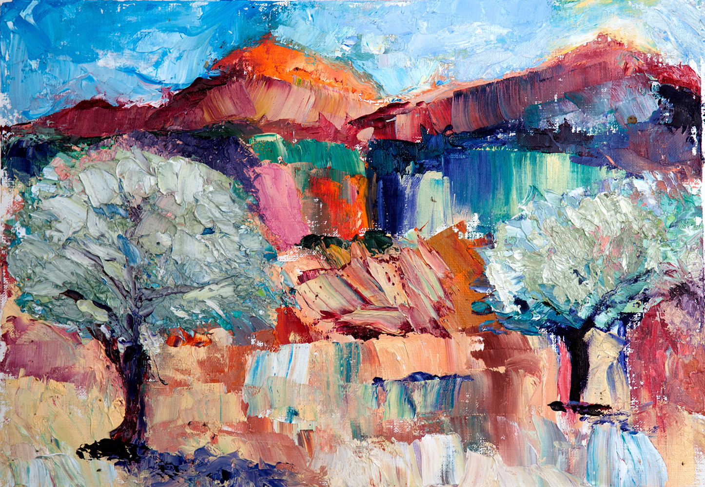 Oil painting Olive Grove, Tuscany by Kathleen Gross