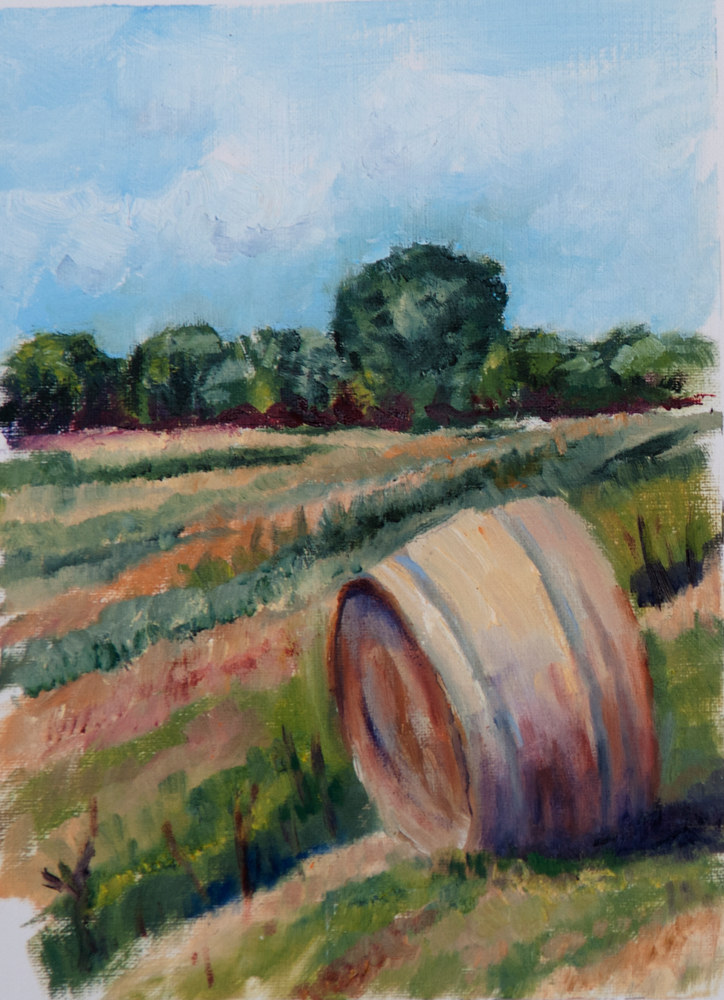Oil painting Hay Bale by Kathleen Gross
