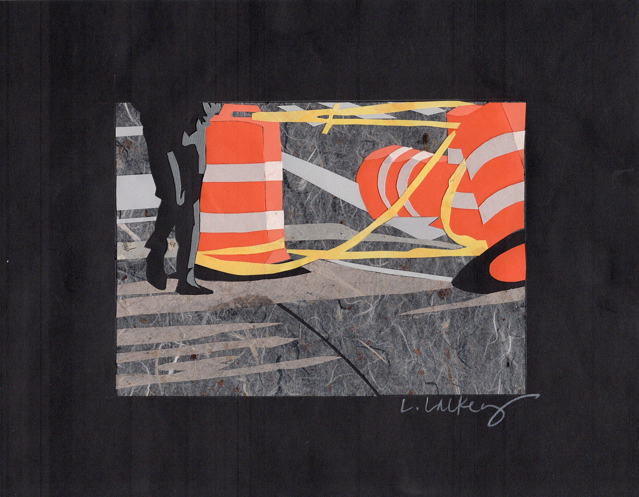 Drawing 10/11 Orange Cones by Lisa Lackey