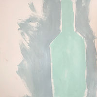 Acrylic painting Turquoise Bottle by Sarah Trundle