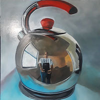 Oil painting Selfie in a tea pot by Timothy Innamorato