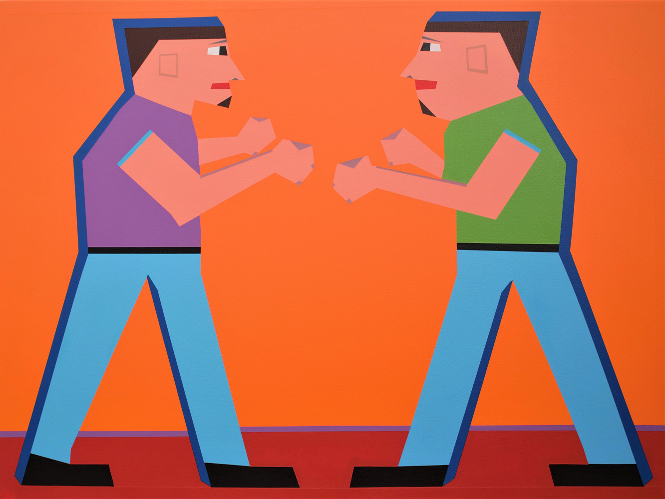Acrylic painting Rigsby Fist Fight by Jorge Puron
