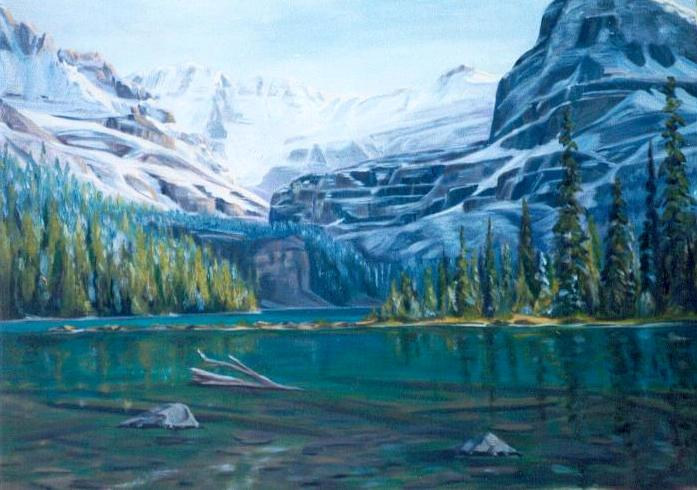 24x36WhenThe SunSaysHelloToTheMountains,Lk. O'Hara by Cecilia Lea