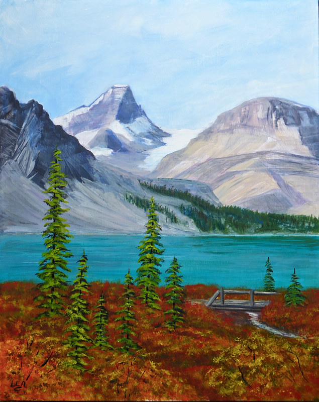 Painting The View From Jimmy's Cabin by Cecilia Lea
