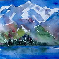 Watercolor Rocky Mountain High by Laurie Cochrane