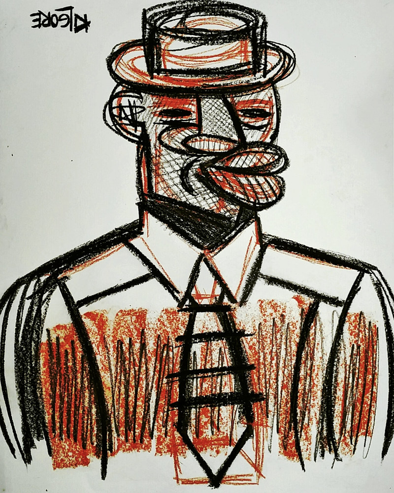 Mixed-media artwork Harlem Brother With Pork Pie Hat  by Michael Kilgore