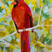 "Acrylic painting ""Autumn Cardinal"" by Jennifer Sparacino"
