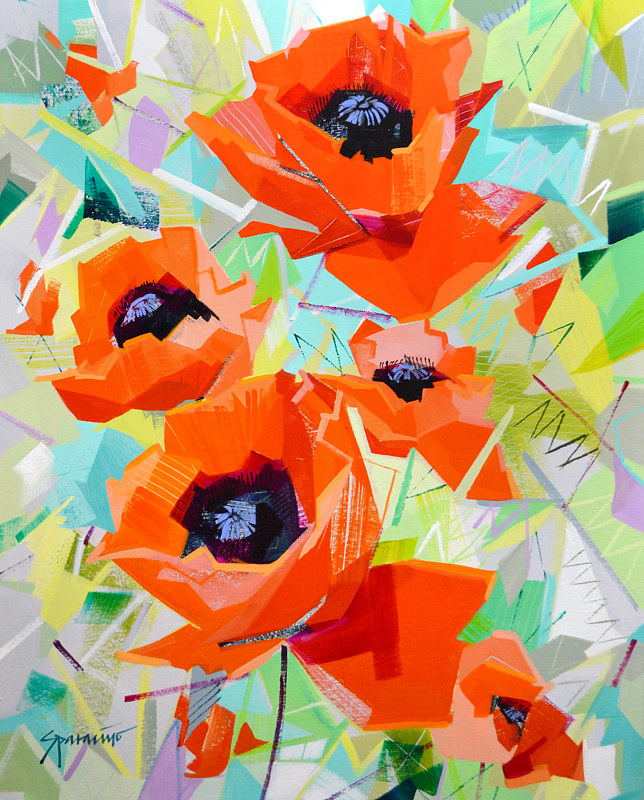 "Acrylic painting ""Playful Poppies""  by Jennifer Sparacino"