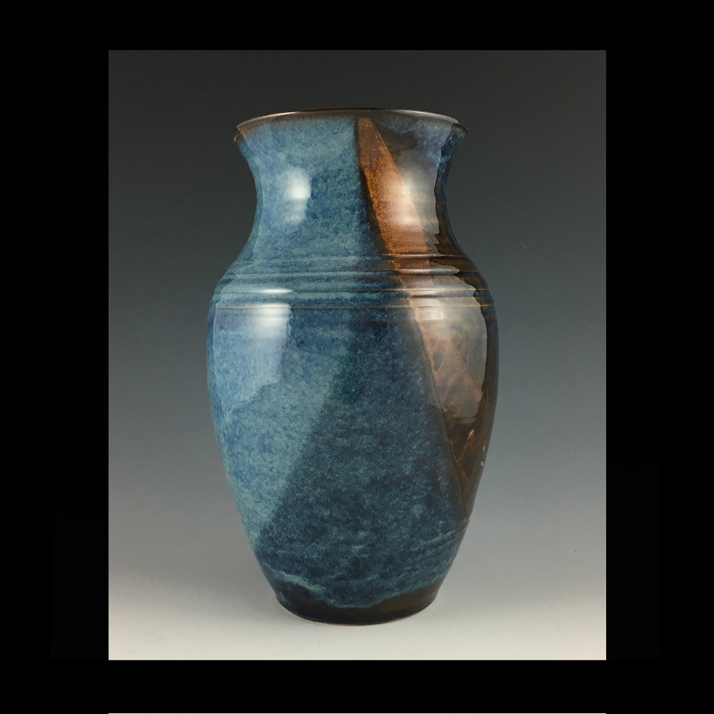 2019 blue vase 13 inch by Elaine Clapper