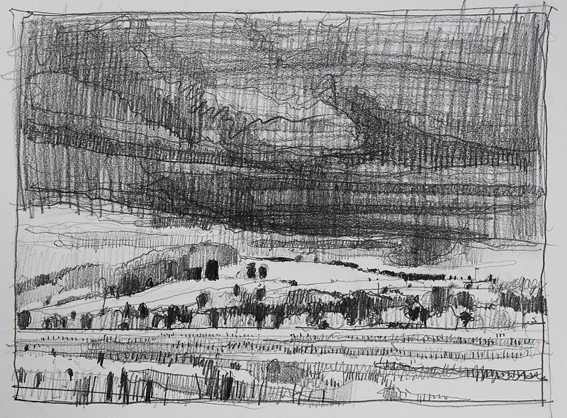 Drawing Sky Over Garden Hill  by Harry Stooshinoff