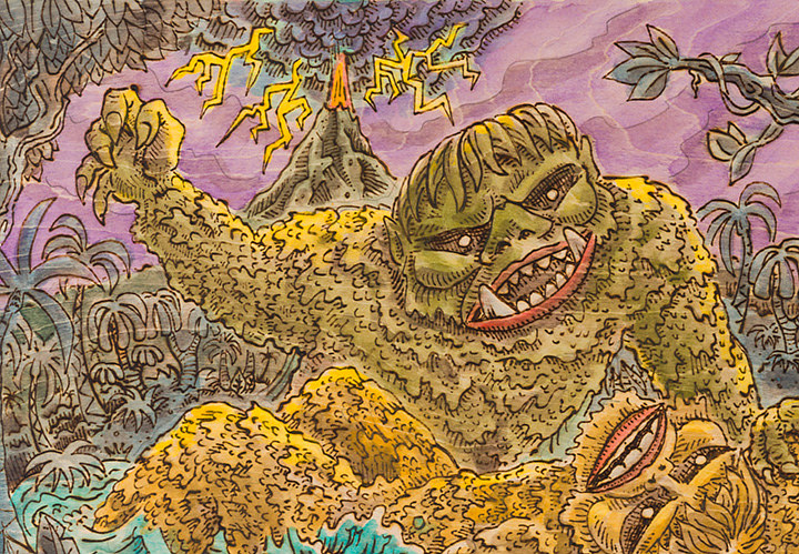 """Gaira vs Sanda"" (War of the Gargantuas 1966) detail by Kenneth M Ruzic"