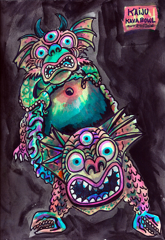 "Watercolor ""Kaiju Kava Bowl"" by Kenneth M Ruzic"