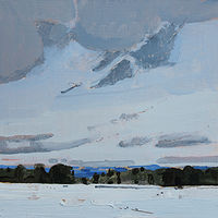Acrylic painting First Snow, Blue Hills  by Harry Stooshinoff