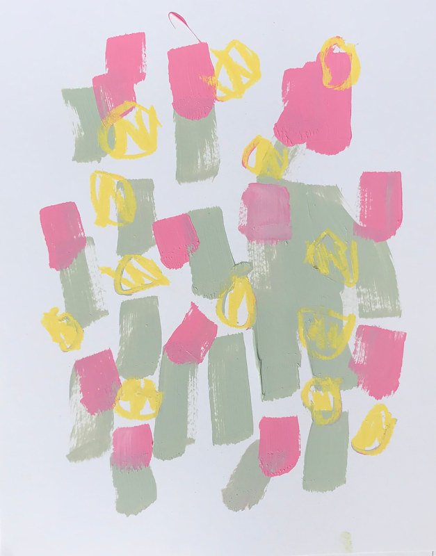 Acrylic painting Pink and Green II by Sarah Trundle