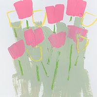 Acrylic painting Tulips on Grey-Green by Sarah Trundle