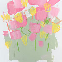 Acrylic painting Tulips on Grey-Green I by Sarah Trundle