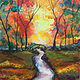 Acrylic painting Autumn Bridge by June Long-schuman