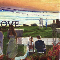 Oil painting Maui Wedding Event Painting 18x24 (image is example) by Pamela Neswald