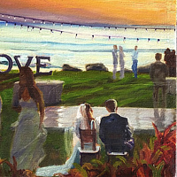 Oil painting Maui Wedding Event Painting 30x40 (image is example) by Pamela Neswald