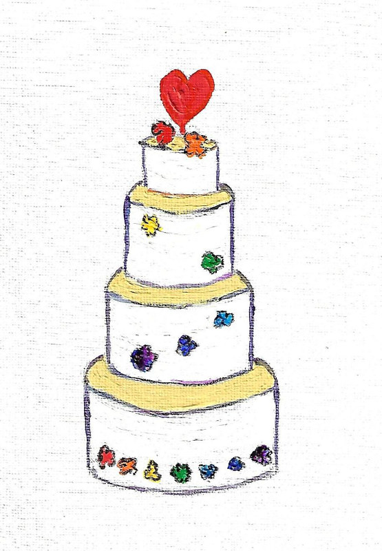Print Rainbow colors wedding (wedding cake illustration)  by Michelle Marcotte