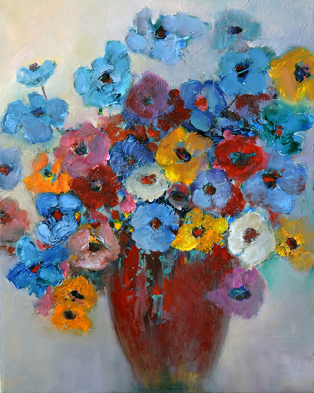 Painting Multicolored Flowers by Svetlana Barker