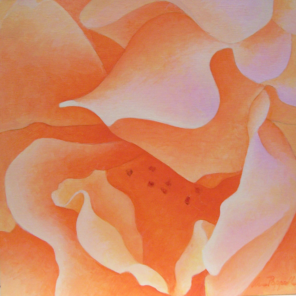 Acrylic painting Orange Rose by Anne Popperwell