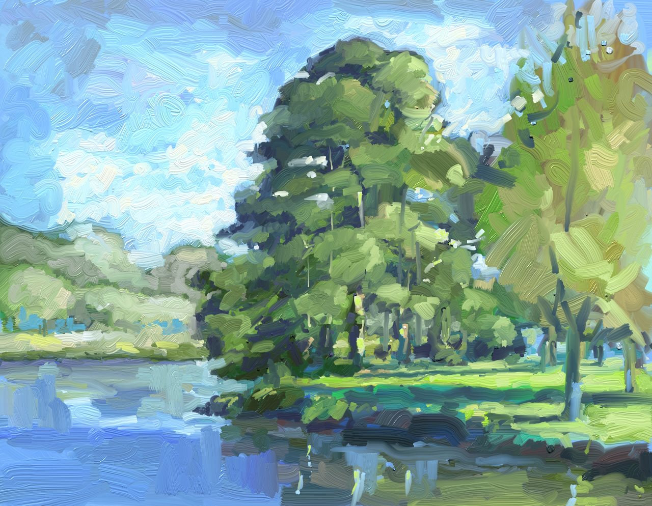 Painting Lake Mayer, Savannah by Bernard Dick