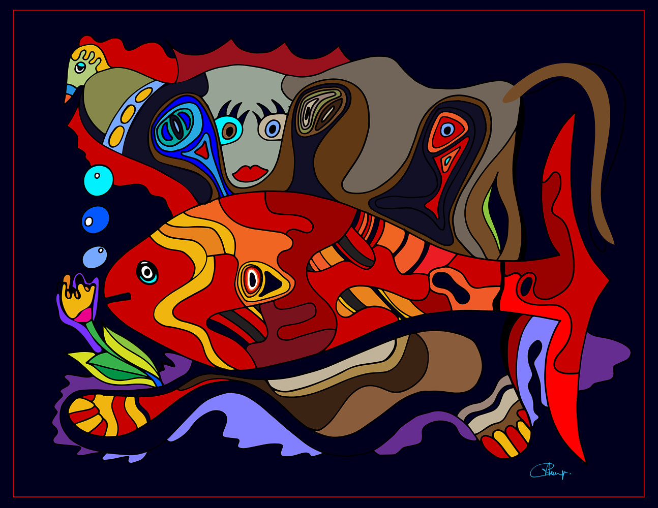 Print Salmon and monkey by Nathalie Gribinski