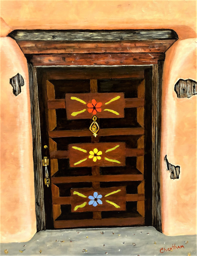 Oil painting La Puerta de Flores (Door of Flowers) by Gary Cheatham