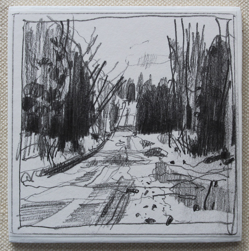 Drawing Road End  by Harry Stooshinoff