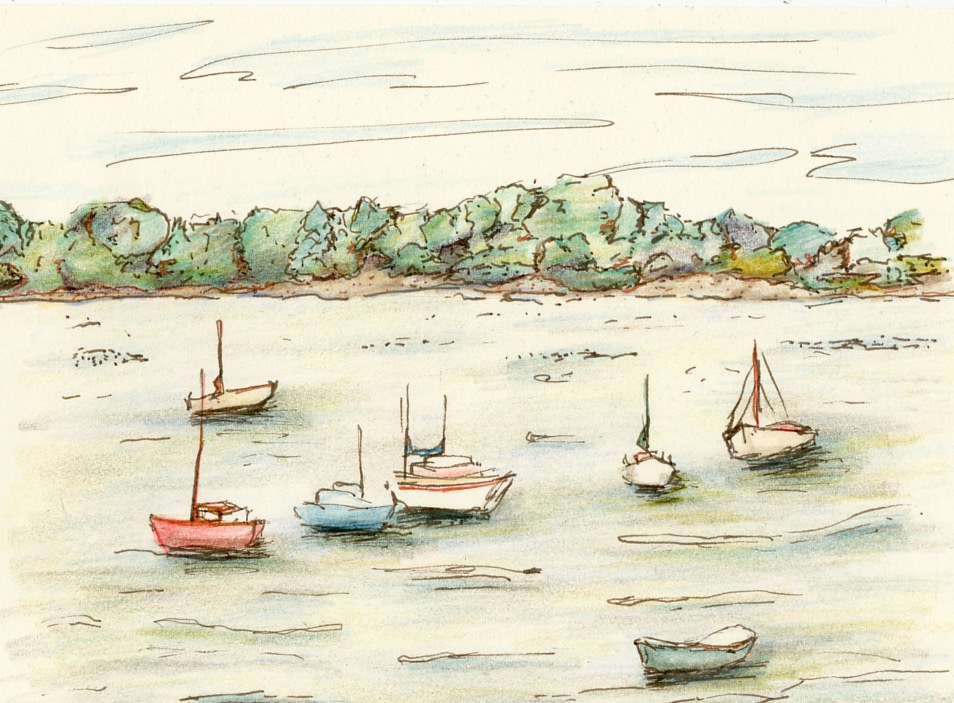 Watercolor Oak Bay Marina by Elaine Lauzon