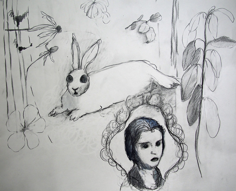 Drawing Cameo Hare prep drawing by Kate Scoones