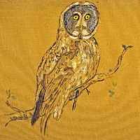 Owl on Cloth by Dennis Worrel