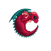Print 5x7 Dragon Baby c, in holiday colors  by Sue Ellen Brown