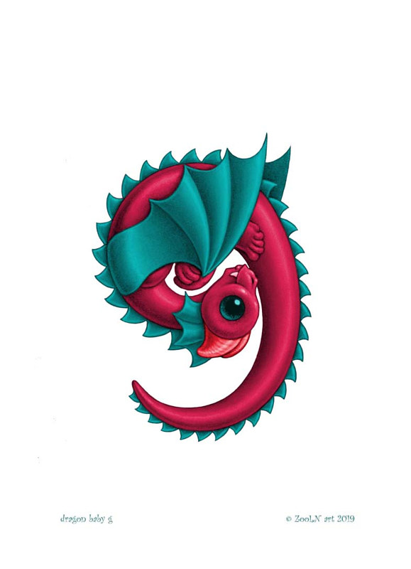 Print 5x7 Dragon Baby g, in holiday colors  by Sue Ellen Brown