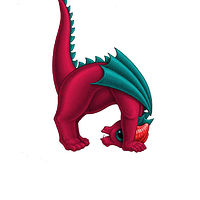 Print 5x7 Dragon Baby h, in holiday colors  by Sue Ellen Brown