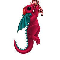 Print 5x7 Dragon Baby j, in holiday colors  by Sue Ellen Brown